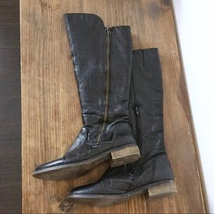Steve Madden Leather Shawny Riding Boot 7.5 Black